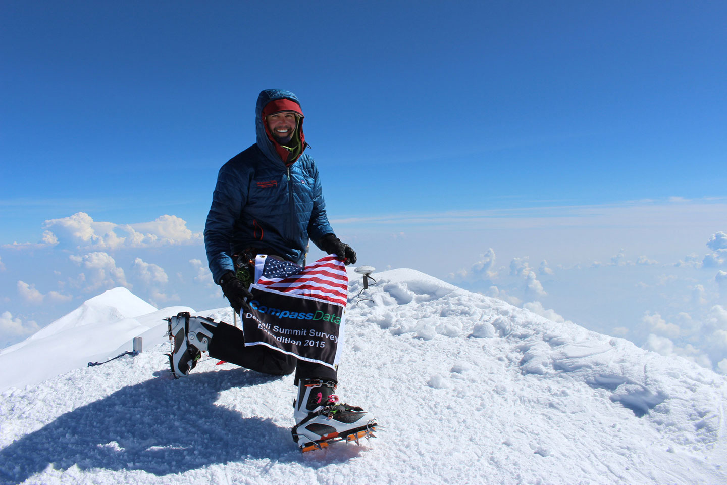 GPS survey party chief Blaine Horner reaches the summit of Denali, establishing its official elevation of 20,310 feet.