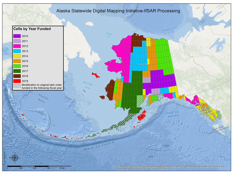 Alaska IFSAR 1-degree cells by funding year.