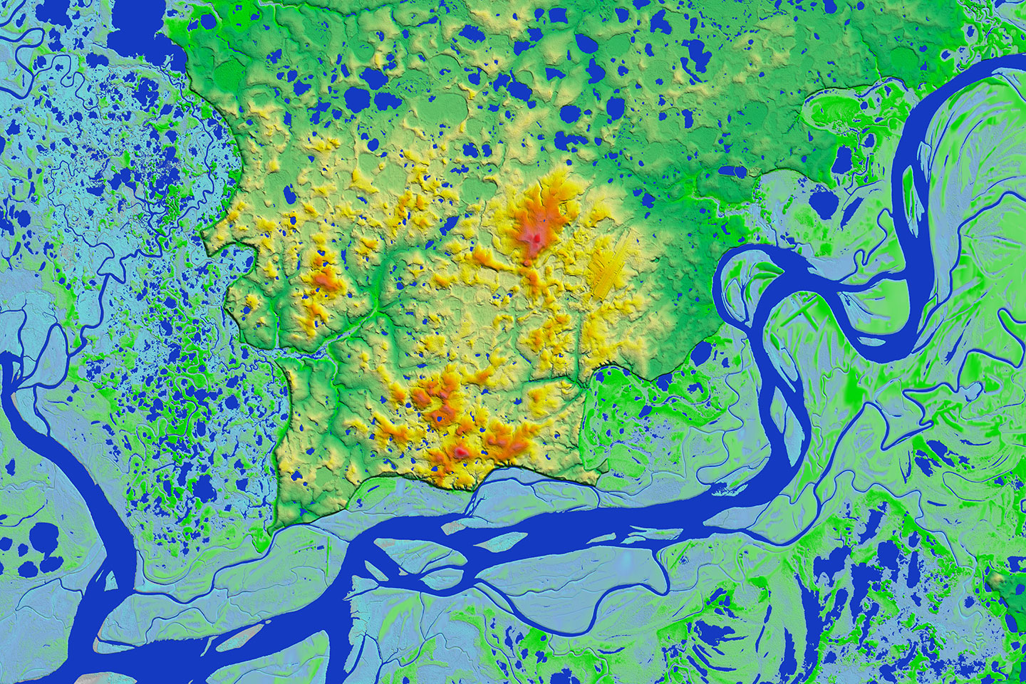In addition to mapping elevations, IFSAR is especially effective because it efficiently maps hydrographic features as shown here for the Kuskokwim River in Bethel Borough.