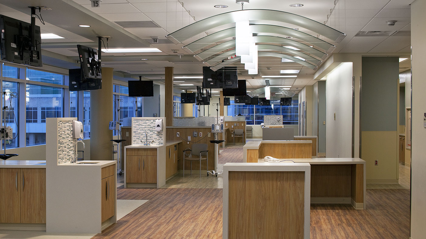 The second floor of the cancer center consists of a United States Pharmacopeia USP 797 pharmacy lab, infusion rooms, and exam spaces with two minor procedure rooms.