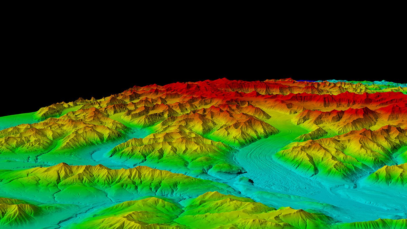 Many of the valleys shown here have near perpetual cloud cover, but were successfully mapped using IFSAR technology.