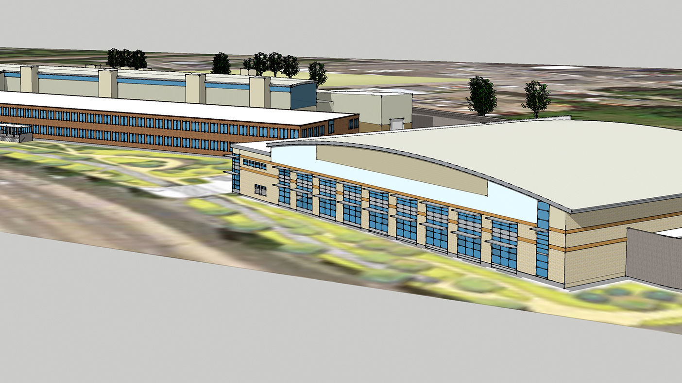 The proposed site will include a bus barn structure to house 118 CNG buses, a 10-bay maintenance and repair building, bus wash and steam cleaning facilities, CNG and diesel fueling stations, parking for 275 vehicles, and interior spaces.