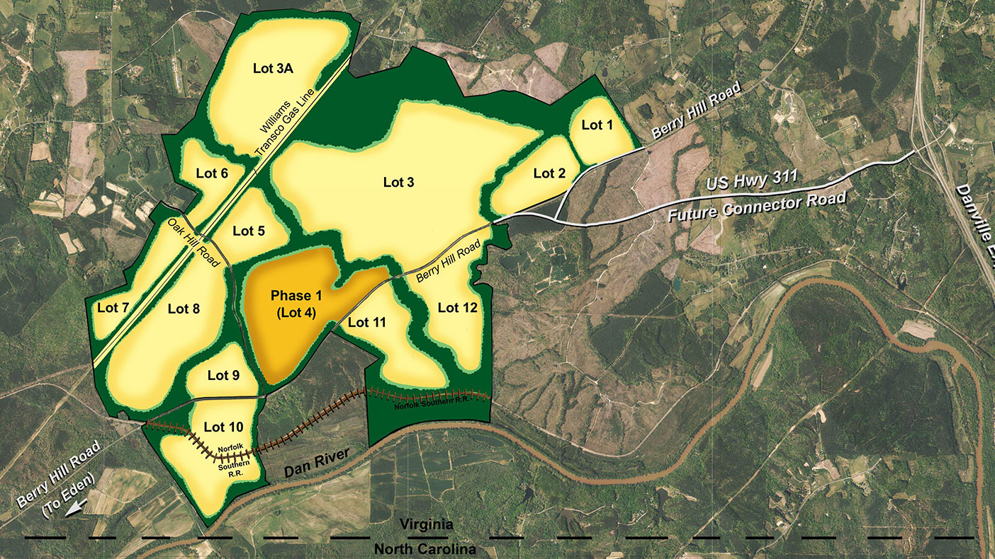 With 12 developable lots, the Southern Virginia Mega Site at Berry Hill will be one of the largest in Virginia.