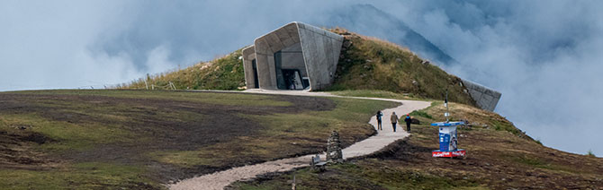 The Messner Mountain Museum, designed by Zaha Hadid, sitting atop the Dolomites in South Tyrol, Italy.