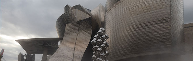 The infamous Guggenheim designed by Frank Gehry alongside a few exterior art installations.