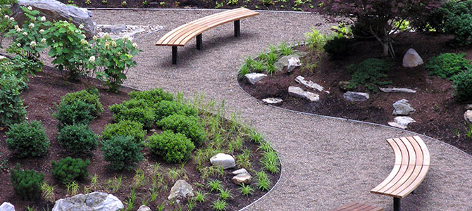 In creating a walking path or area, also provide ample areas for respite by including benches or other seating spaces.