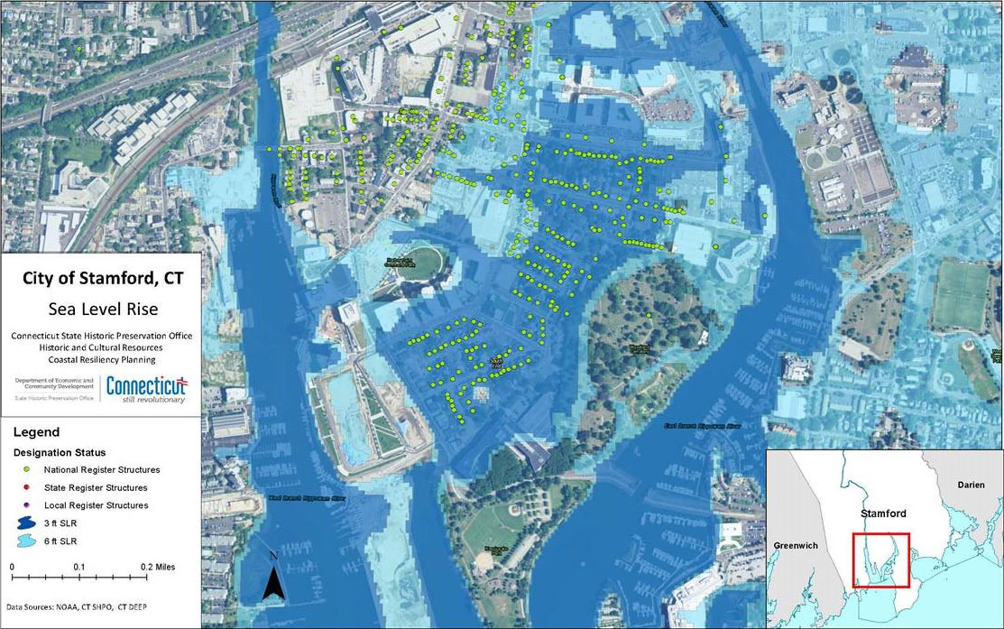 This figure illustrates the number of buildings currently on a state or national historic register that will be inundated by projected sea level rise scenarios in the city of Stamford._resized
