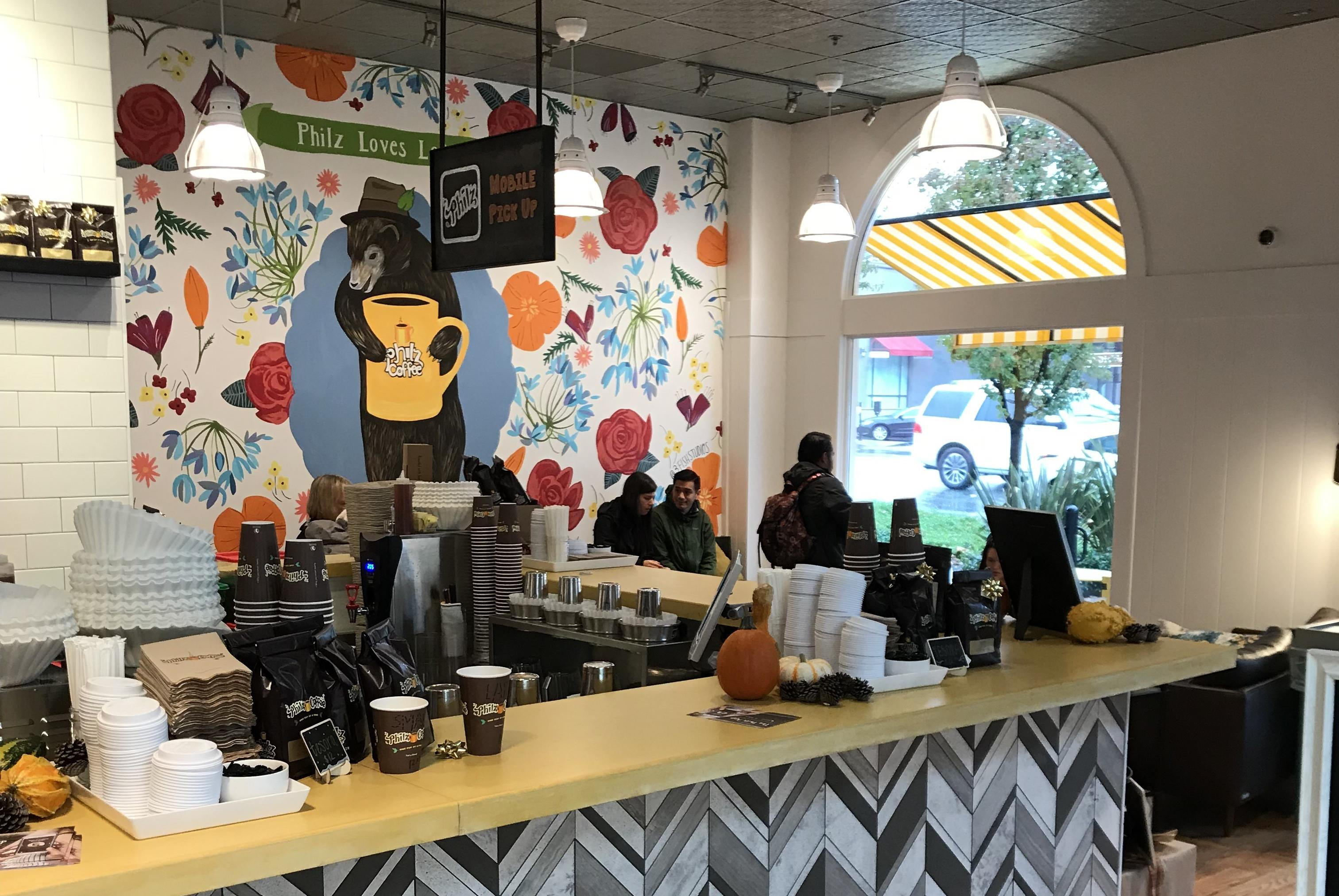 Philz recently opened a store in Lafayette, California, that features bright colors, patterns, and textures to match the vibrancy of the local community.