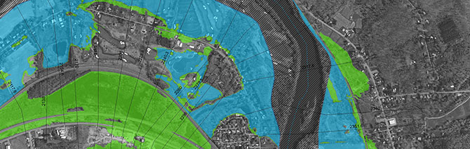 An example of a flood map that we created to help show the risk profiles along waterways for a community.