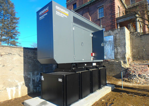 A 130kW Generac Industrial Standby Diesel Generator was installed at the Amsterdam City Hall.