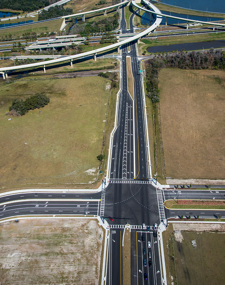 The new roadway design eases bottlenecking during peak traffic periods that was once caused by airport traffic being forced through two major access roads.