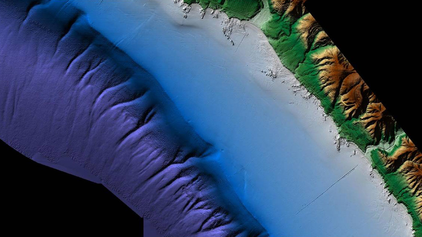 The Laguna Beach DEM pictured represents a seamless topobathymetric merged data set acquired using airborne topographic LiDAR, airborne bathymetric LiDAR, and ship-based acoustic data.