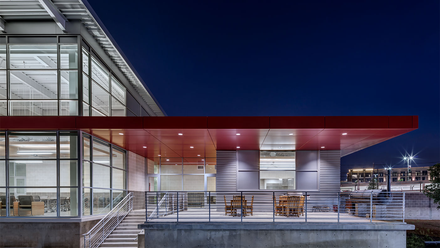 The building achieved LEED Silver® and includes a solar water heating system and geothermal heating and cooling.