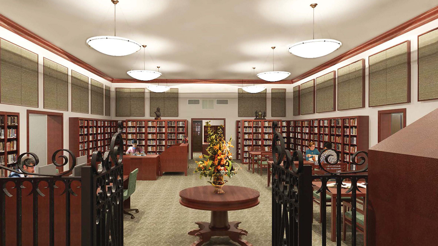 The new reading room includes glass-enclosed bookshelves and a much larger, secure vault. New carpet and acoustical panels create a quiet research environment, while indirect lighting provides an even, flexible light source.