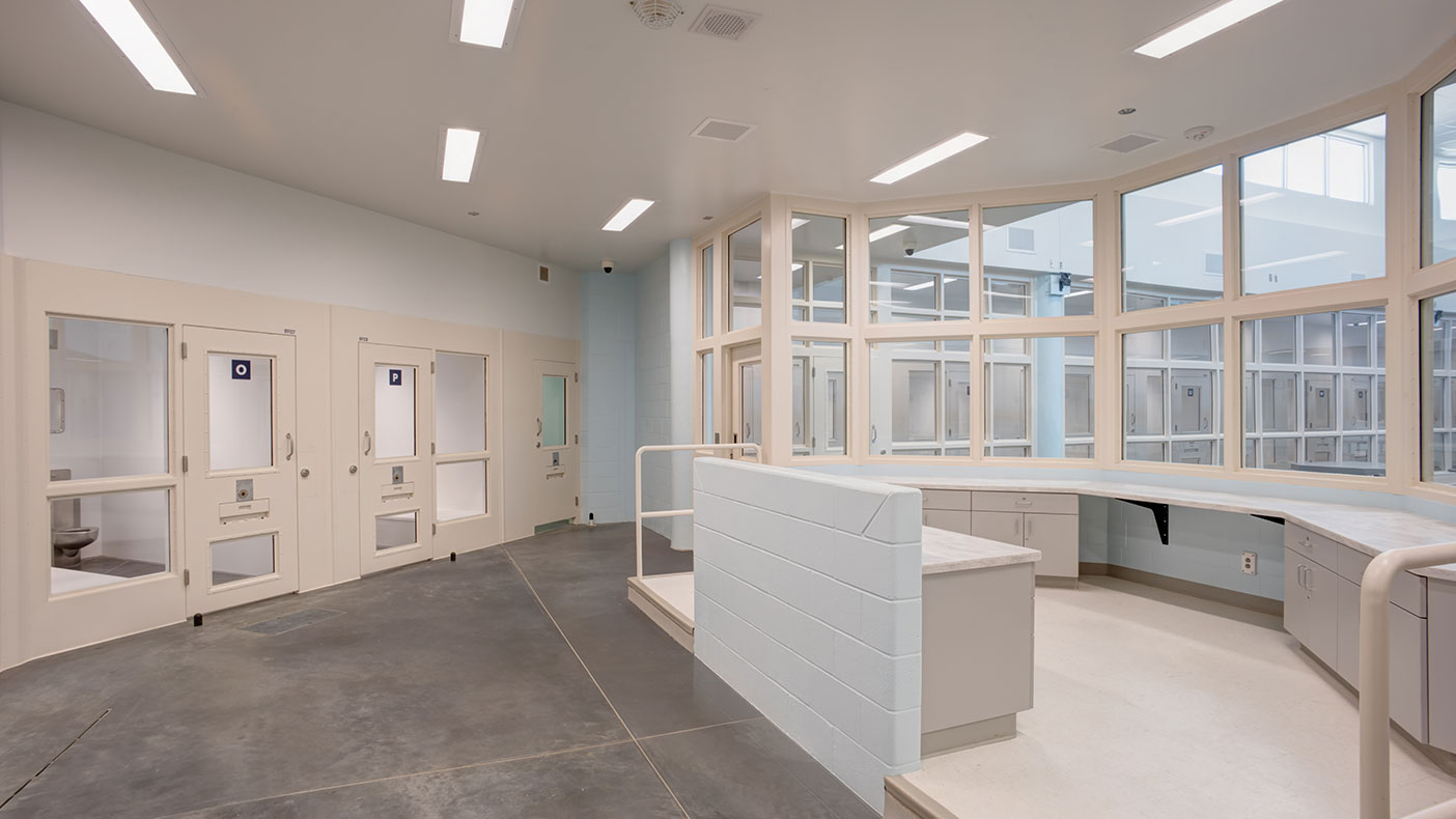 Close watch supervision within mental health pods feature line of sight, direct control, calming colors, while providing access to daylight.