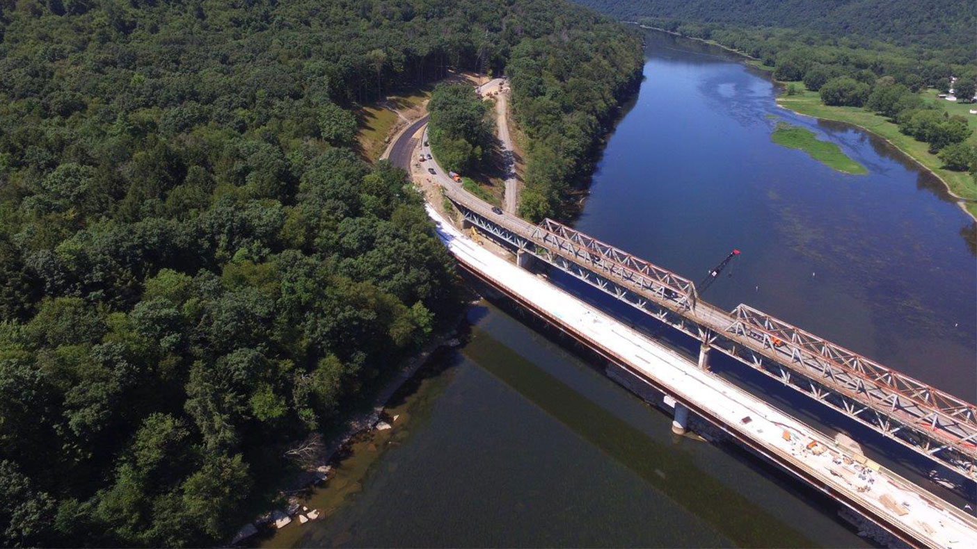 Transporting approximately 1,100 vehicles a day, the Hunter Station Bridge carries U.S. Route 62 over a designated wild and scenic stretch of the Allegheny River.