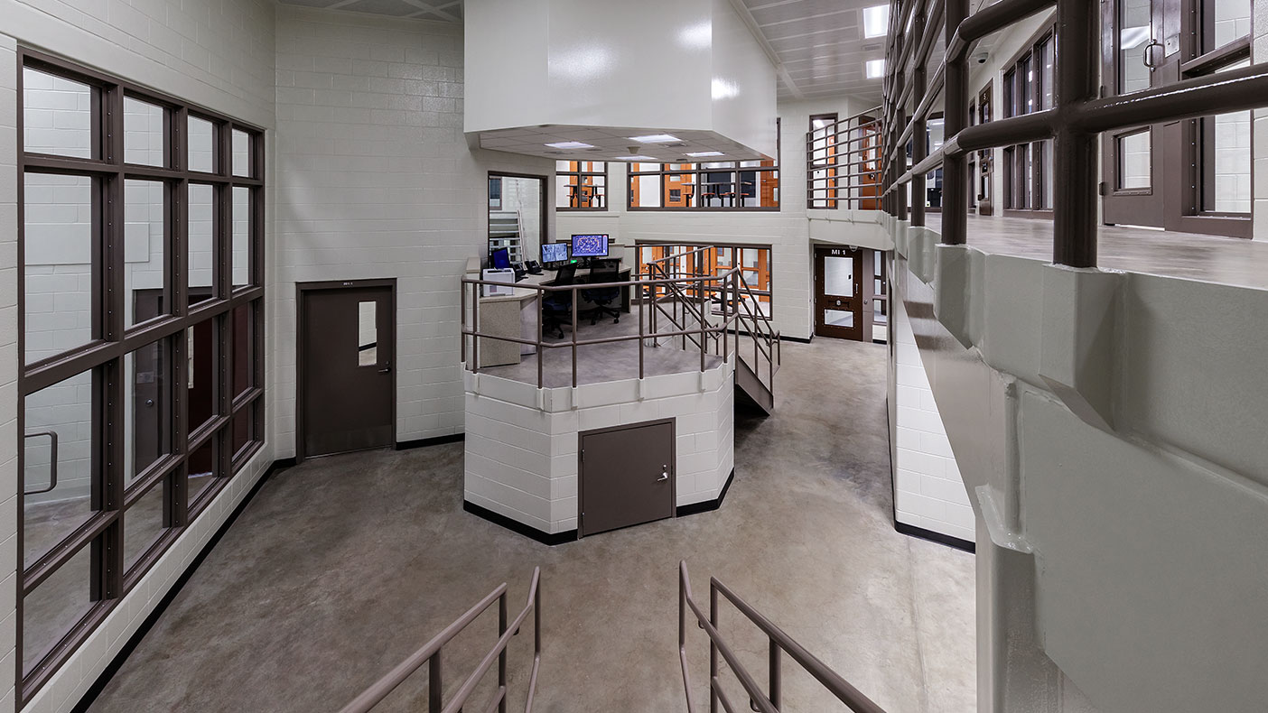 The updated control room provides a safe working environment for the correctional staff.