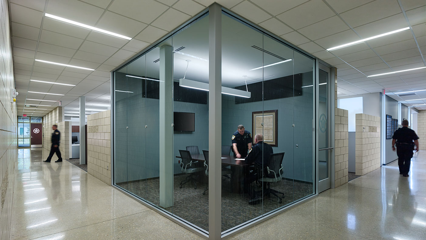 Ample glass in the main entry and throughout the public spaces supports transparency in the police-community relationship.