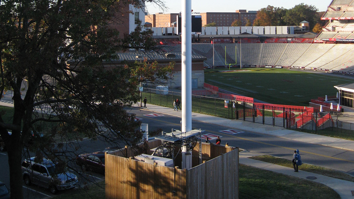At UMD College Park, we installed a temporary cell site with a 104-foot-tall faux monopole outside the Cole Field house. Our work involved test pits to locate an existing duct bank, utility, and fiber optic cables within 30 feet of the site.