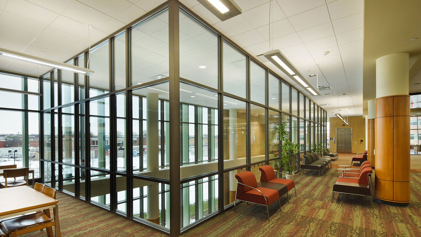Our design integrated library usage into students' daily lives by connecting the south end of the building directly to the Student Resource Center (SRC) art gallery space and lounge areas.