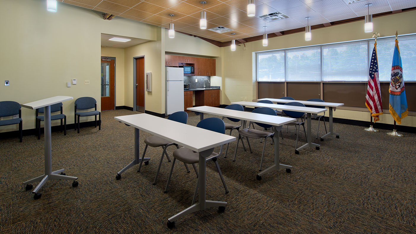 The building also includes a more spacious multi-function community room.