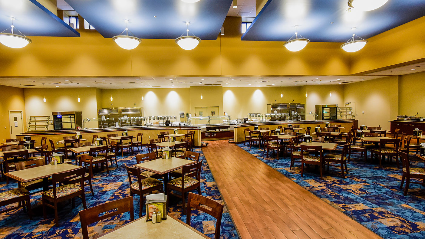 The facility features a 6,000-square-foot kitchen area where a high-volume lunch buffet service can cater up to 2,000 meals per day.