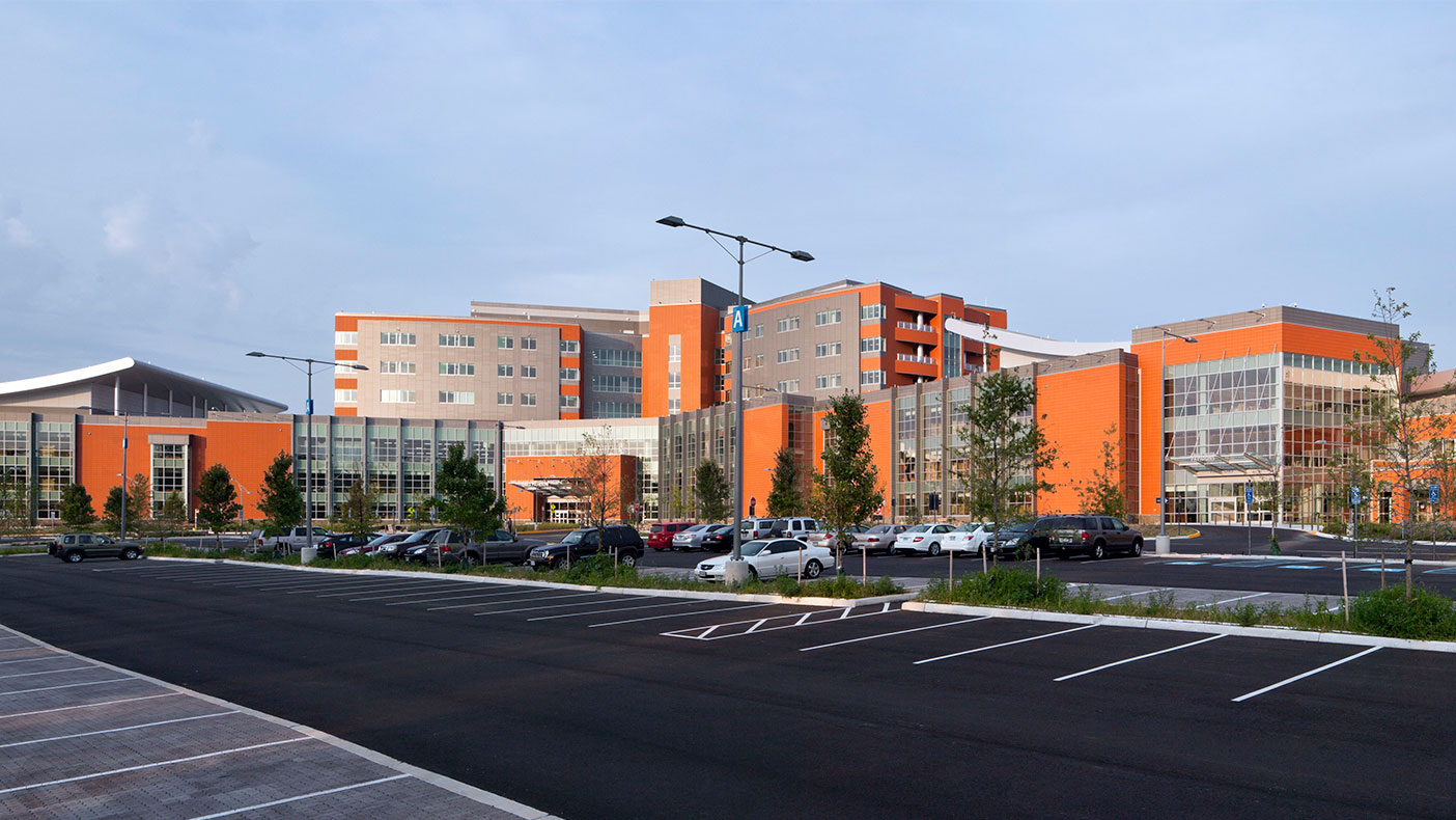 The hospital received LEED® Gold certification by using low impact design measures such as bio-retention facilities and stormwater reuse and filtration measures.