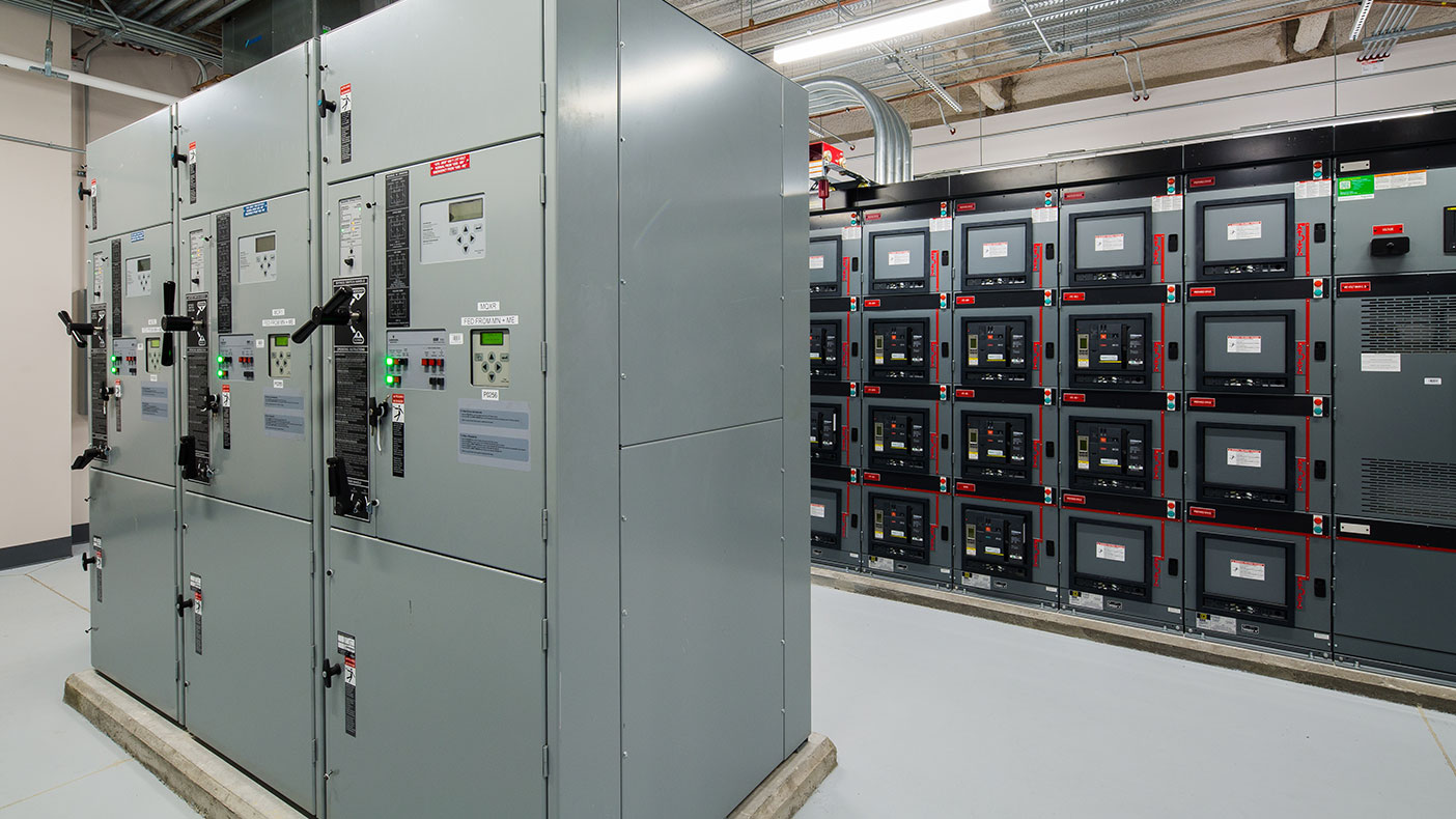 The new electrical service is designed for future expansion and is protected by 480-volt automatic transfer switches.