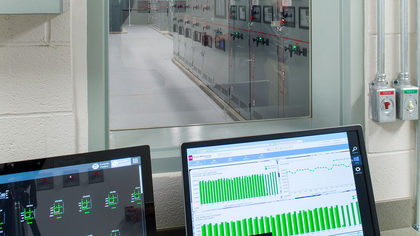 A single individual can monitor the electrical network from a control room equipped with a computerized supervised control and data acquisition (SCADA) system and touchscreen monitor.
