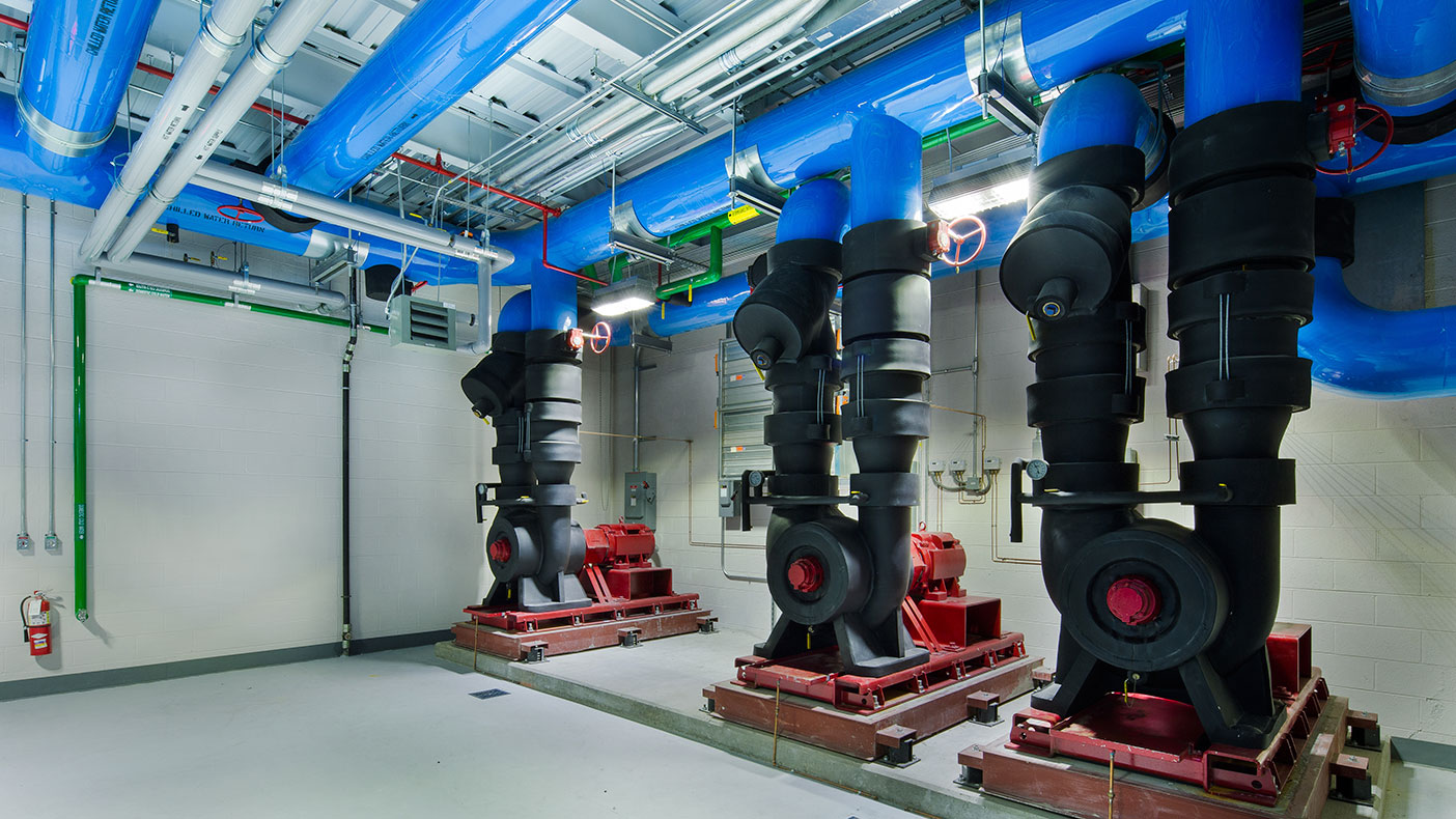 We converted the existing primary/secondary/tertiary chilled water pump system to a variable primary system.