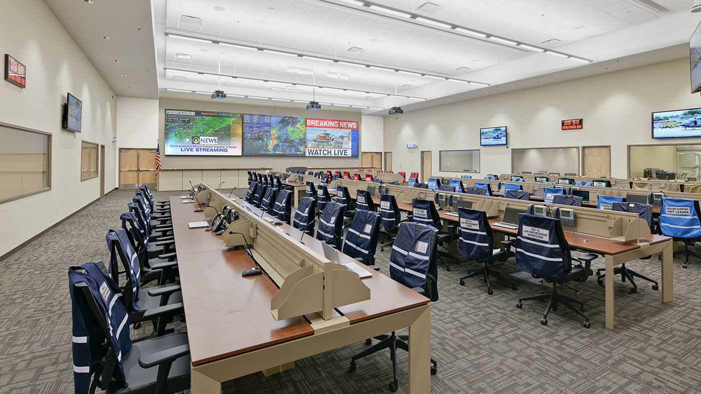 The complex houses an incident command center (shown above), non-emergency call center, radio facility, data center, fire-rescue fleet maintenance, fueling, and warehouse.