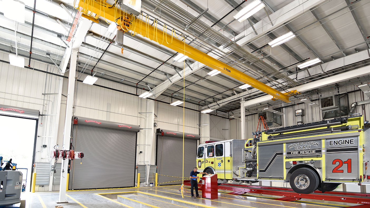 The fire-rescue fleet maintenance building was designed with multiple lifts and a large hoist to enable Hillsborough County's fire rescue fleet to be serviced from one location.