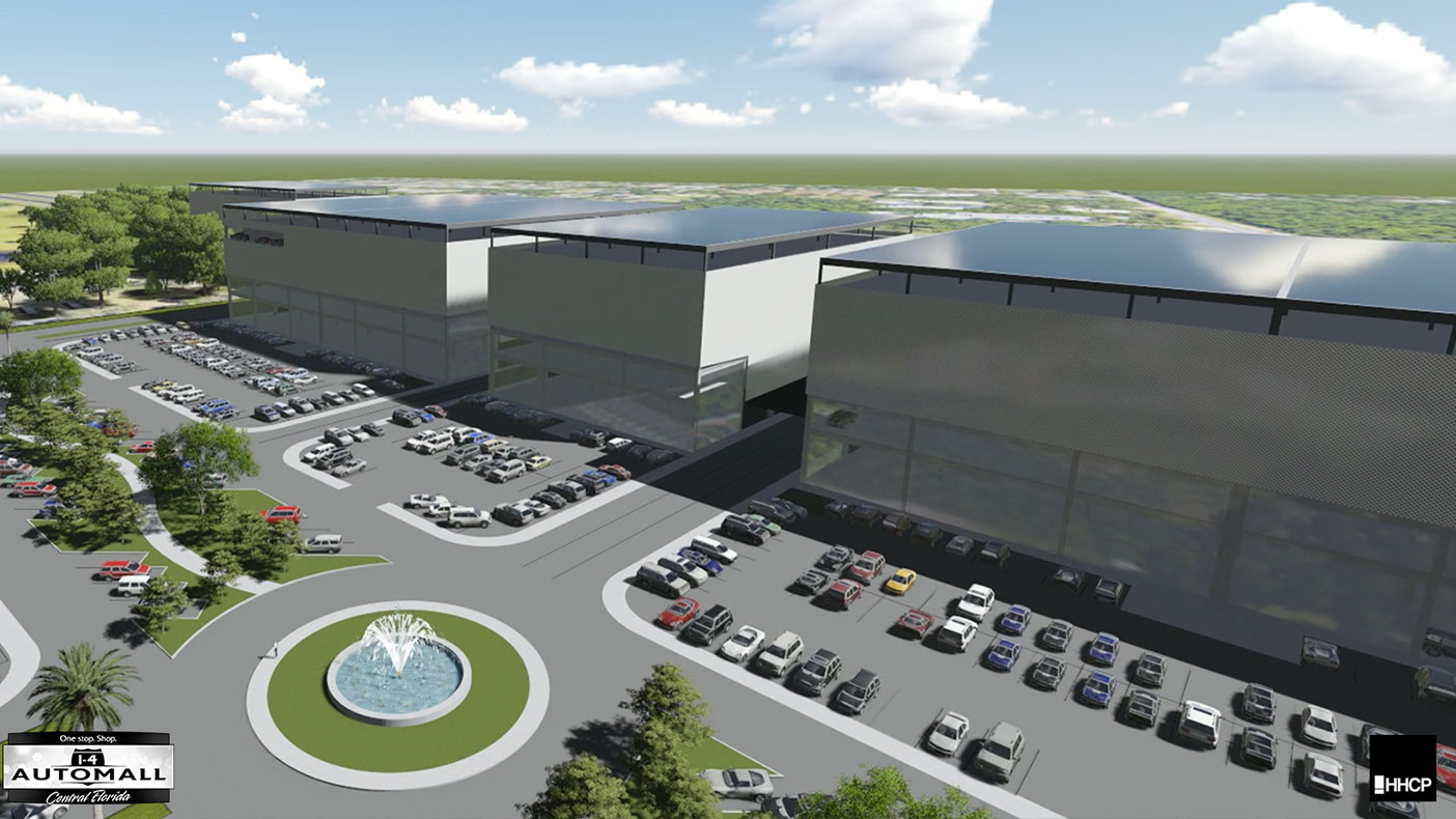 The multi-level building will create space for dealerships to rent portions of the facility, including areas for storage, showroom, service, and administration.