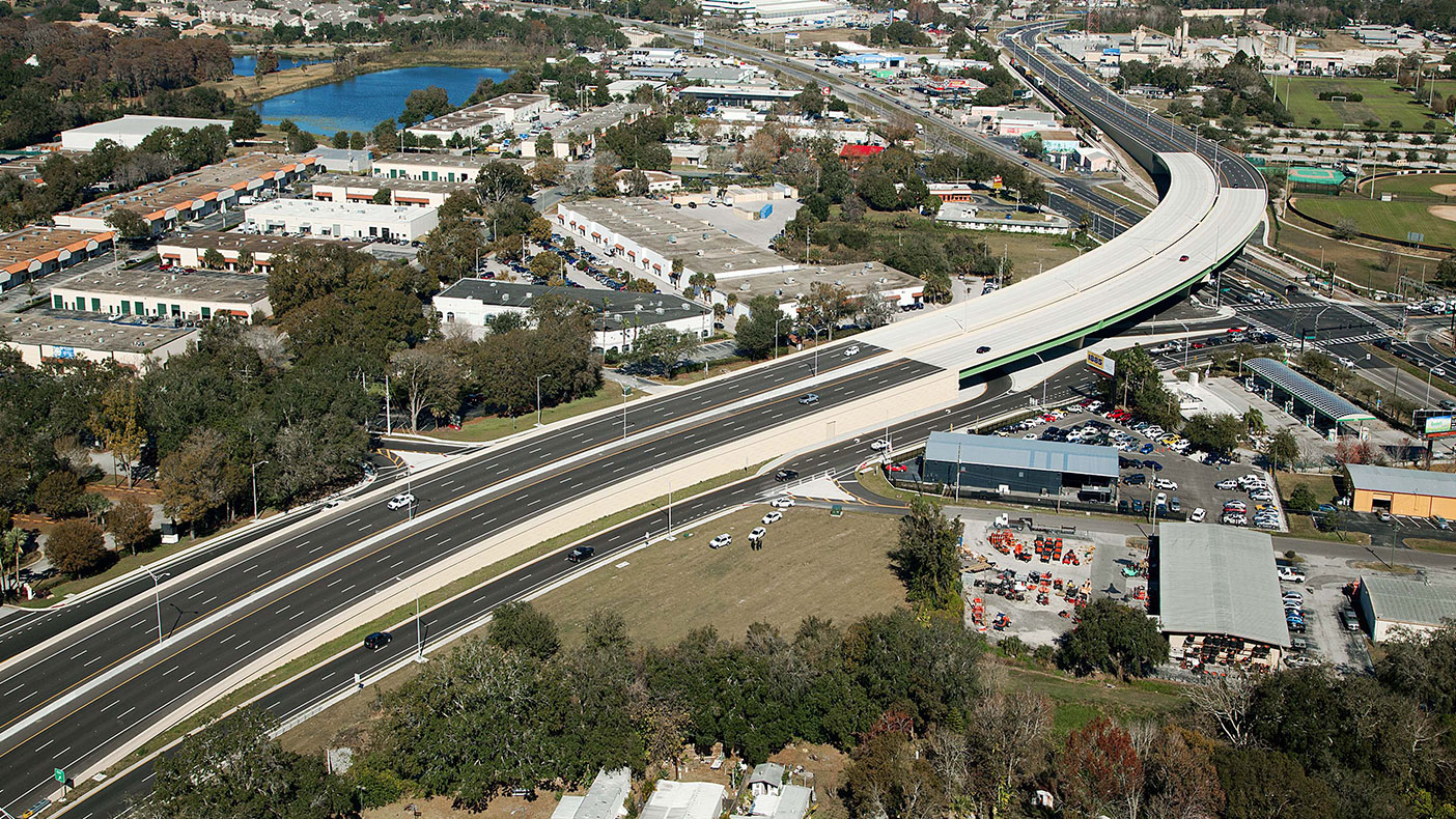 The John Young Parkway extension included new alignments, milling, resurfacing, and major bridge construction.