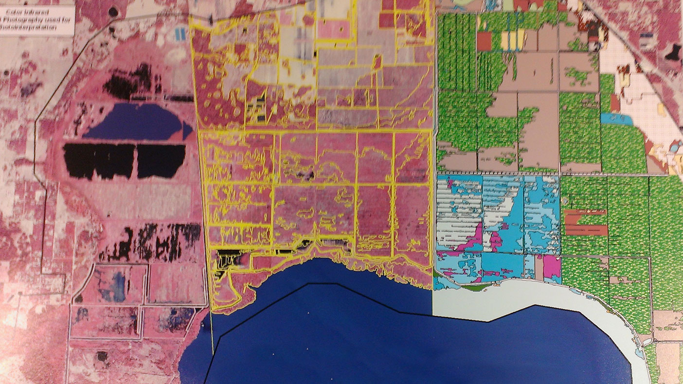 Color infrared imagery is used to map vegetation within the Lake Apopka restoration area. New imagery is acquired at regular intervals in order to map, document, and analyze changes.