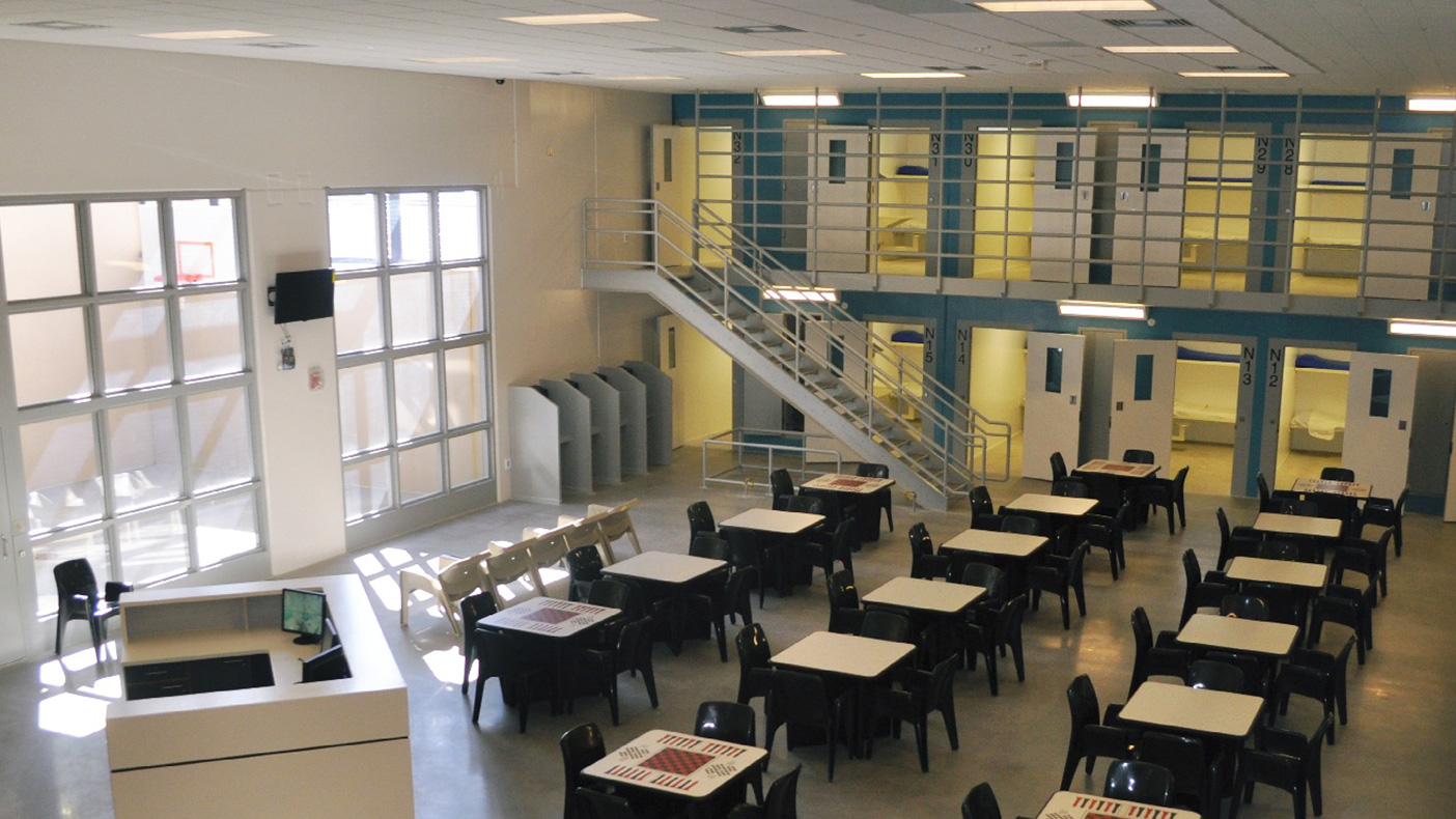 Minimum security dormitory units are separated by work release (outside security) and inside security units—each with common dining, recreational, and educational areas.