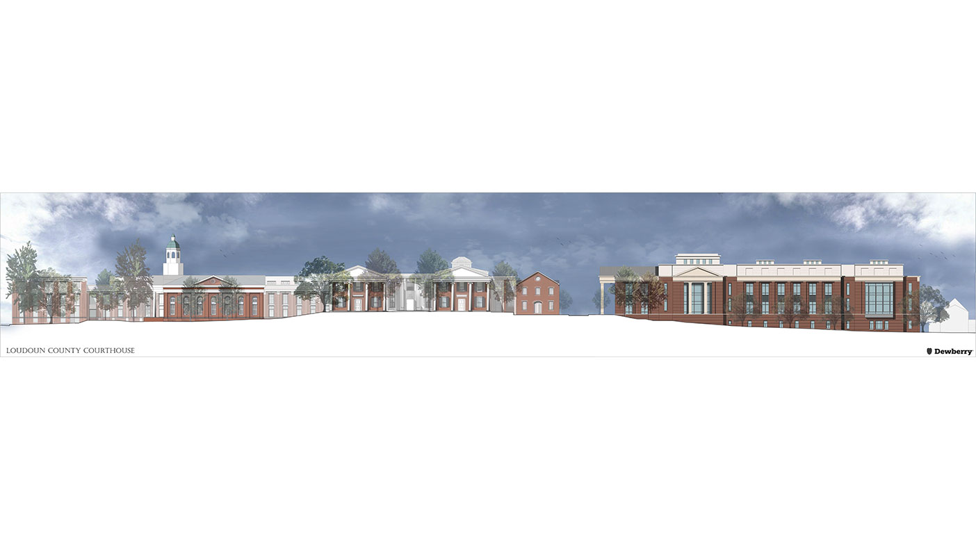 This rendering shows a view from the south exterior of the buildings, including a view of the relative building elevation.