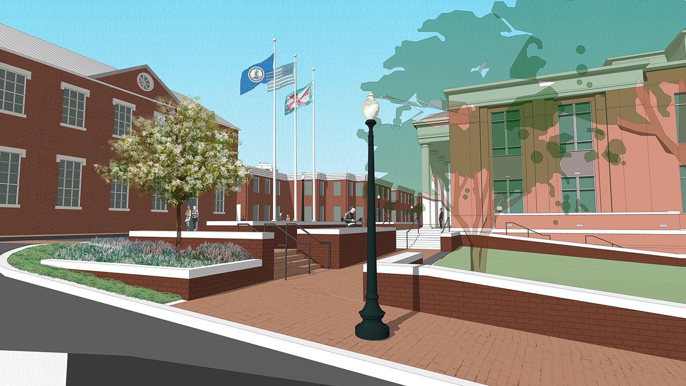 This rendering shows improvements to the new courthouse public area.