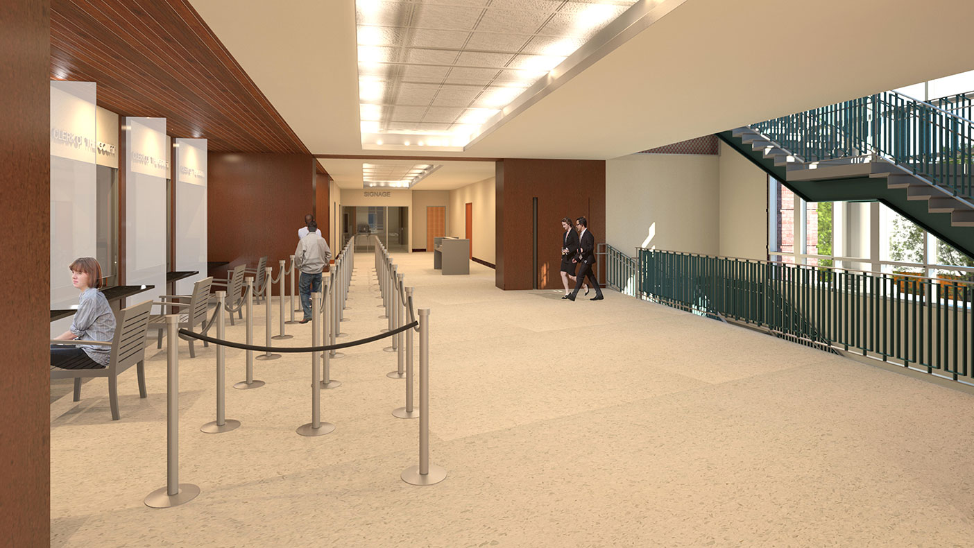 This rendering shows the new courthouse lobby interiors.
