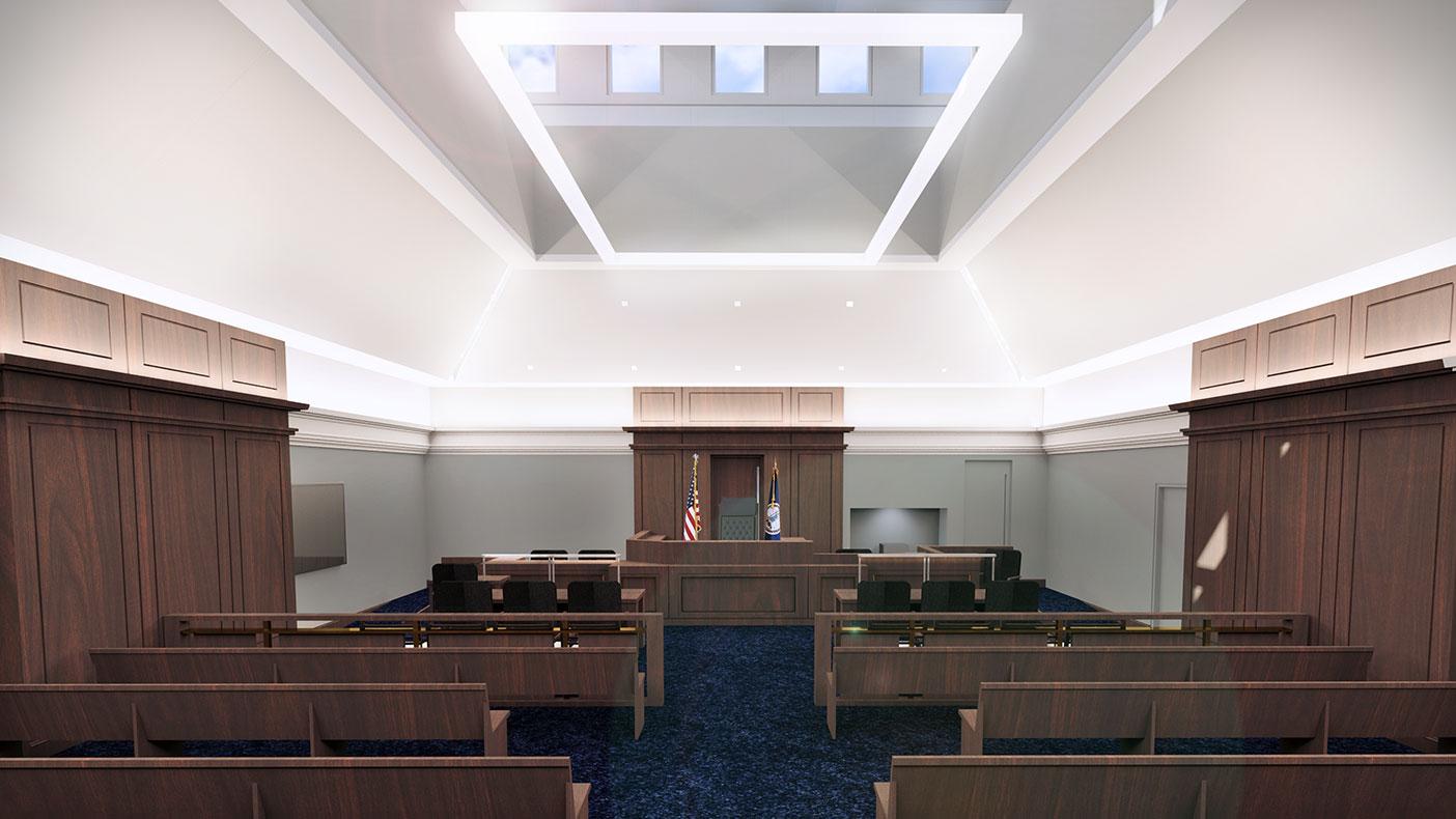 This rendering shows a view of the courtroom interior.