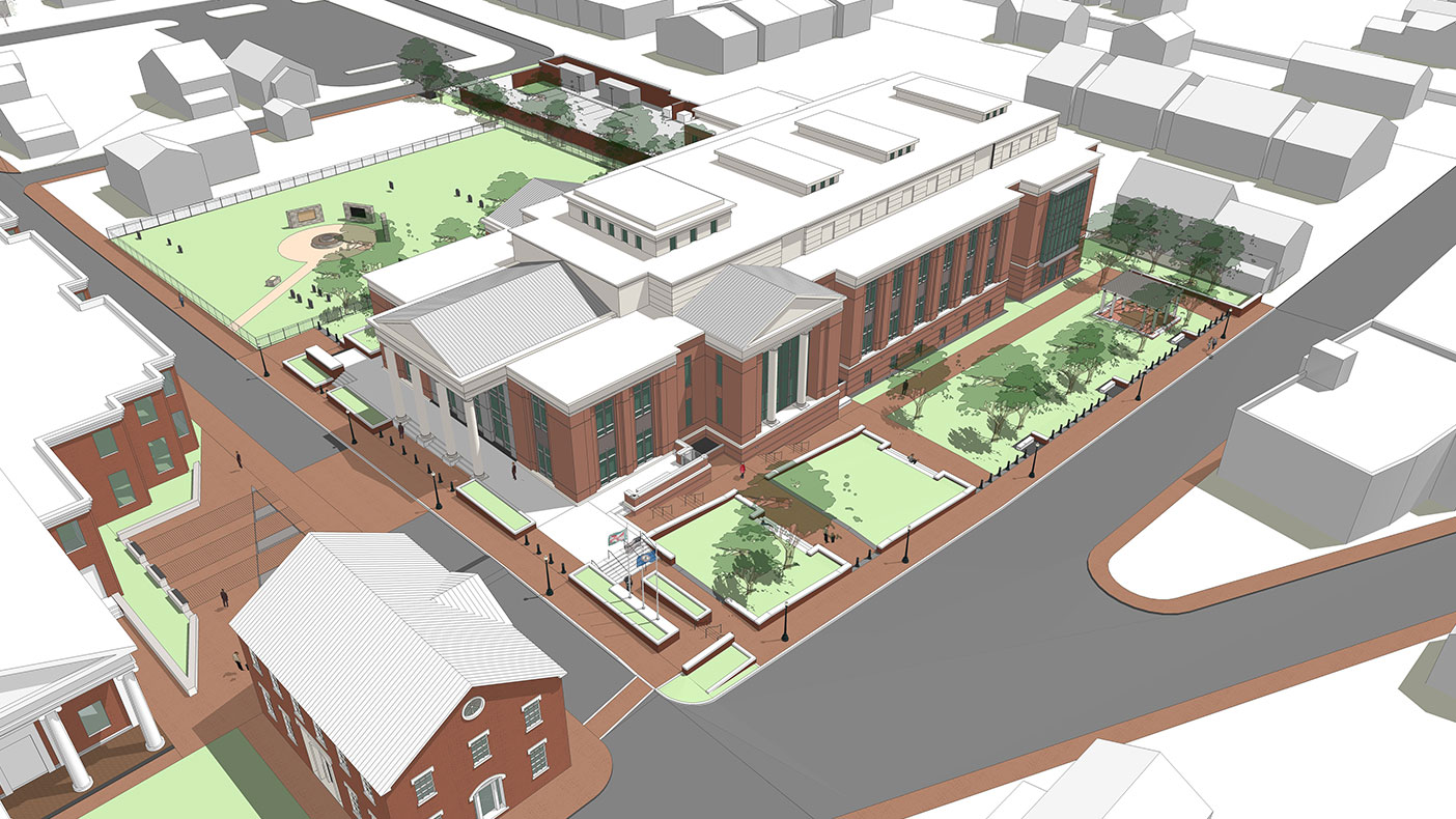 This rendering shows an aerial view of the courthouse.