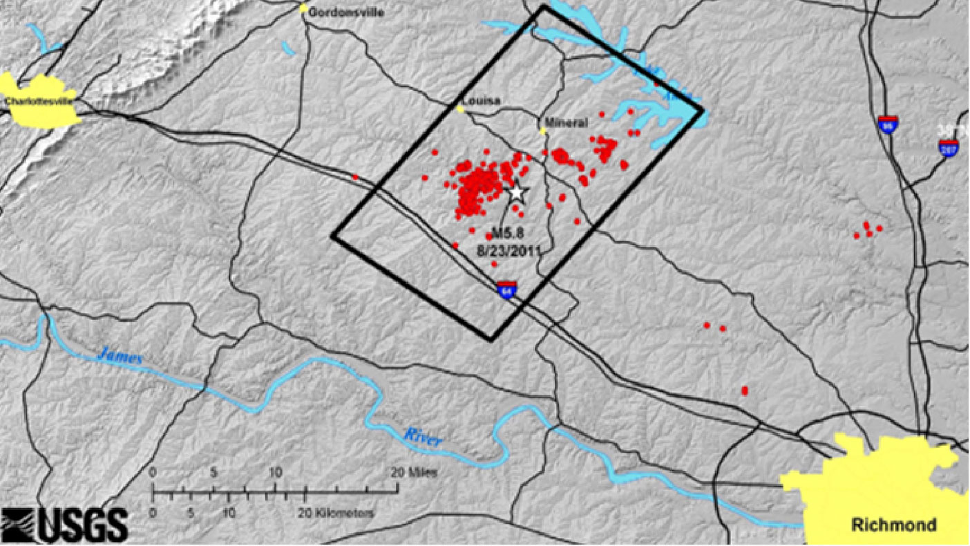 With our LiDAR data, USGS geologists were able to map earthquake faults not visible when walking on the terrain in central Virginia, including areas surrounding the North Anna Nuclear Power Plant.