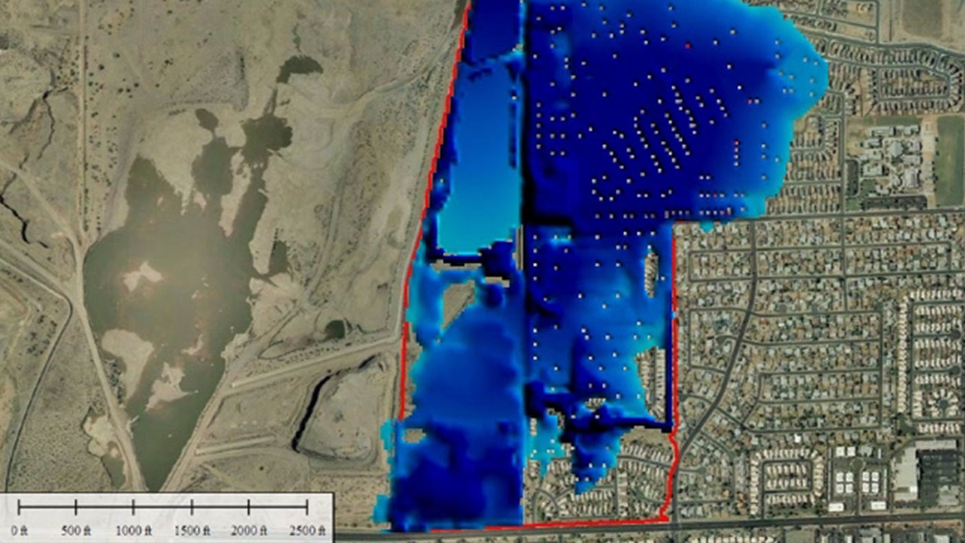 One of our EAPs used 2-D animation to display the depths of flooding in the inundation areas, in the event of a levee breach. Dark blue represents areas of greater flooding depth.
