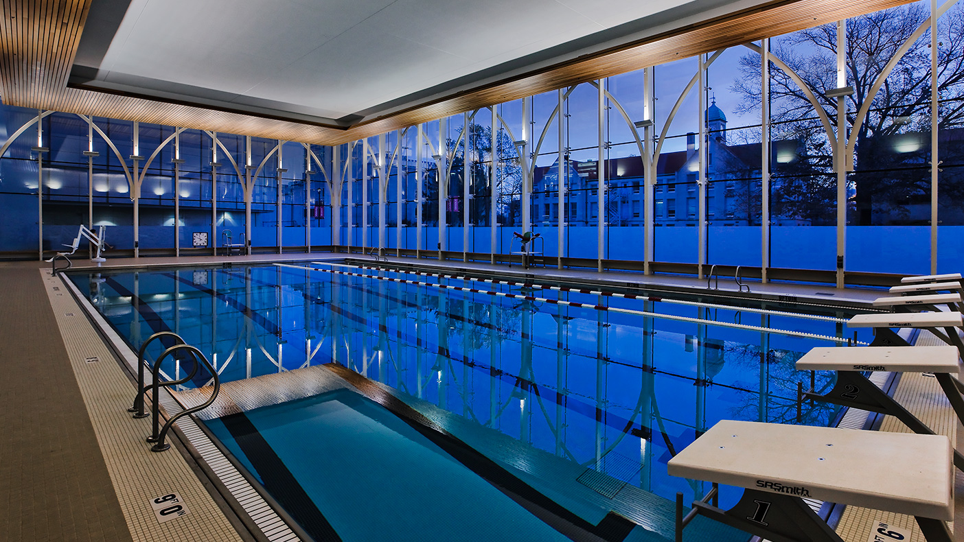 Recreation venues include basketball courts, an indoor pool, racquetball courts, a rock climbing wall, a multi-activity court, and a jogging track.