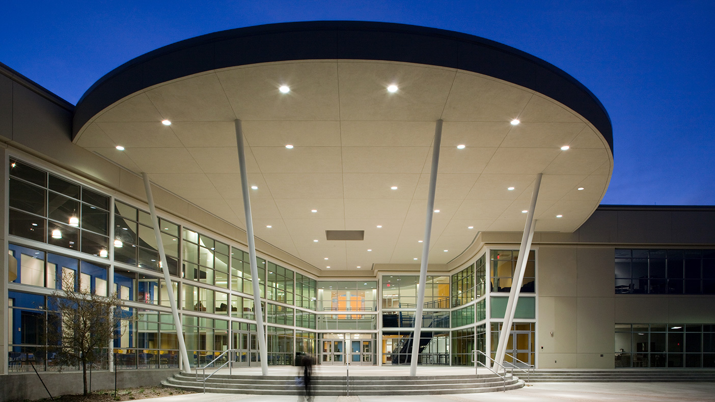 The outdoor pavilion is frequently used for student programs, speakers, and celebrations.