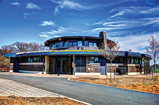 Front view of the new Carmine Carro Community Center designed using the latest sustainable features.