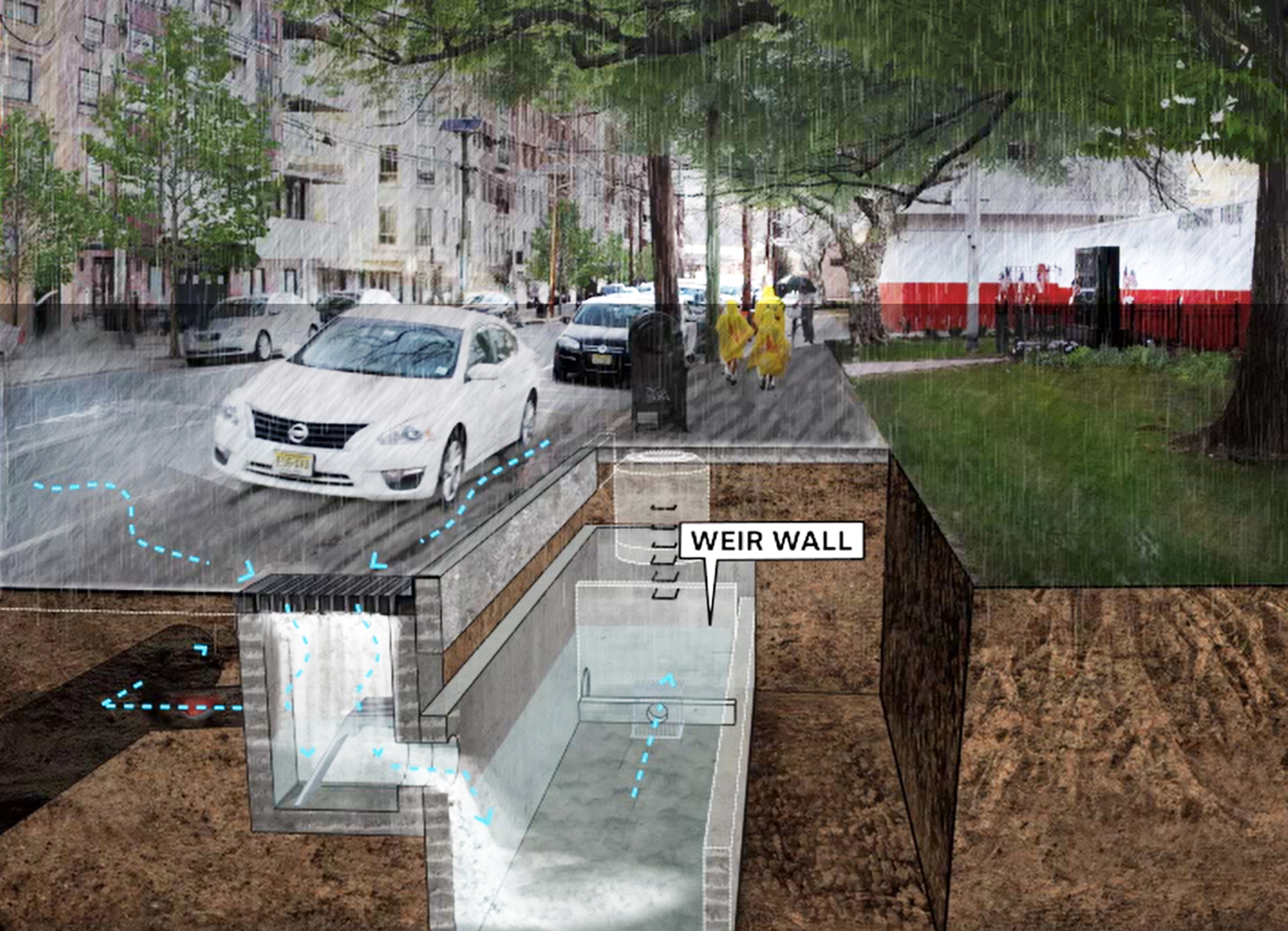 Green and gray infrastructure solution integrated within public right-of-way to reduce flooding from rainfall events