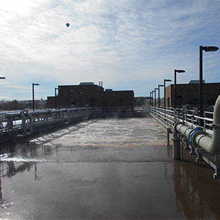The upgraded Louisville WWTP employs a Johannesburg biological nutrient removal secondary process. Photo courtesy of Dewberry. Ellen Wuori, photographer.