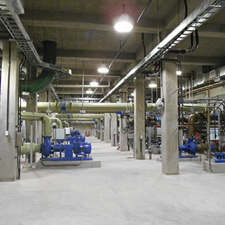 The process pump station houses internal recycle pumps for nitrogen removal, and return-activated sludge, waste-activated sludge, and scum pumps. Photo courtesy of Dewberry. Ellen Wuori, photographer.