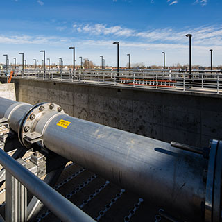 The WWTP upgrades include aeration basins capable of performing biological nutrient removal. Photo courtesy of Dewberry. Dave Huh, photographer.